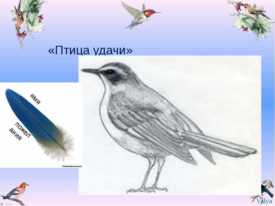«Птица удачи» имя пожелания Valya Valya