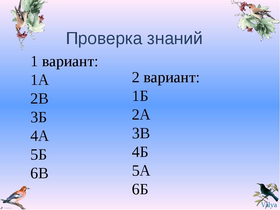 Проверка знаний 1 вариант: 1А 2В 3Б 4А 5Б 6В 2 вариант: 1Б 2А 3В 4Б 5А 6Б Val...
