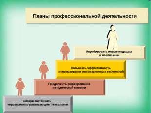 Планы профессиональной деятельности Апробировать новые подходы в воспитании