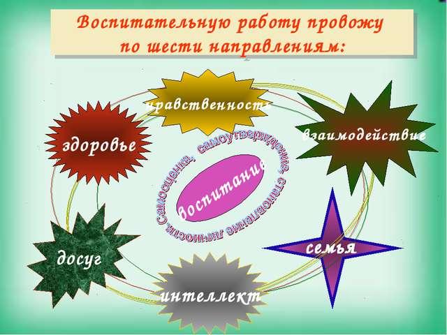 Воспитательную работу провожу по шести направлениям: воспитание взаимодейств...