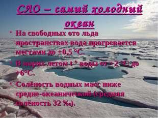 СЛО – самый холодный океан На свободных ото льда пространствах вода прогревае
