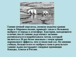 Таяние вечной мерзлоты, помимо подъёма уровня воды в Мировом океане, приведё