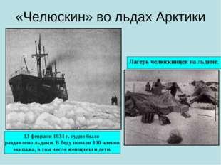 «Челюскин» во льдах Арктики Лагерь челюскинцев на льдине. 13 февраля 1934 г.