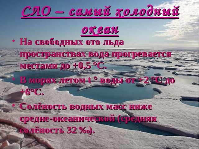 СЛО – самый холодный океан На свободных ото льда пространствах вода прогревае...