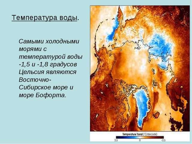 Температура воды. Самыми холодными морями с температурой воды -1,5 и -1,8 гра...