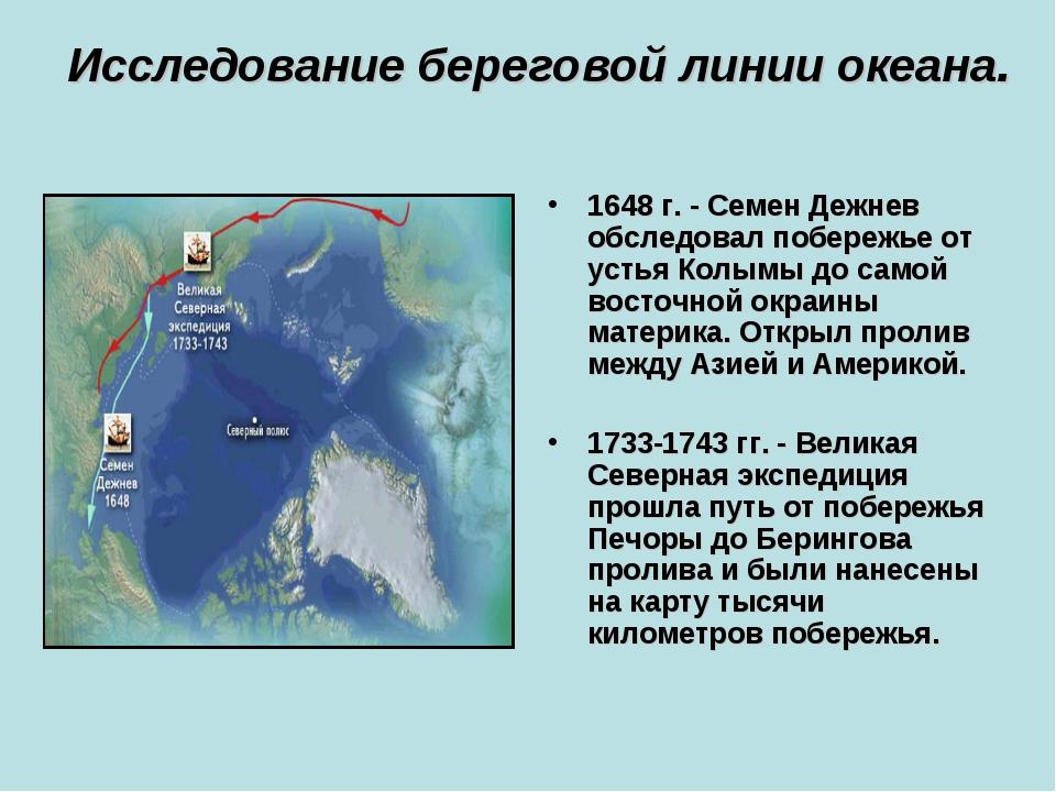 Исследование береговой линии океана. 1648 г. - Семен Дежнев обследовал побере...