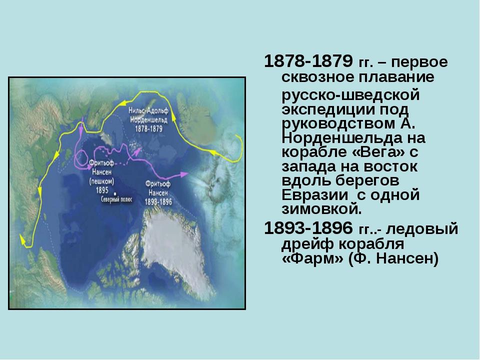 1878-1879 гг. – первое сквозное плавание русско-шведской экспедиции под руко...