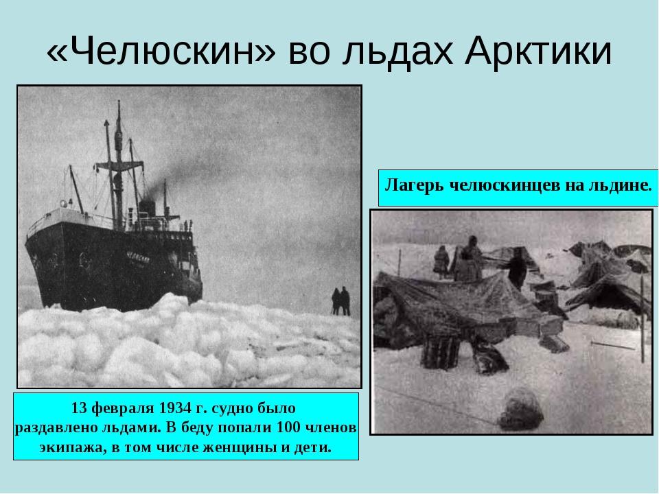 «Челюскин» во льдах Арктики Лагерь челюскинцев на льдине. 13 февраля 1934 г....