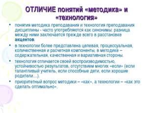 ОТЛИЧИЕ понятий «методика» и «технология» понятия методика преподавания и тех