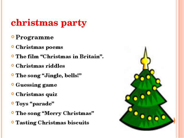 "christmas party Programme Christmas poems The film ""Christmas in Britain"". Ch..."