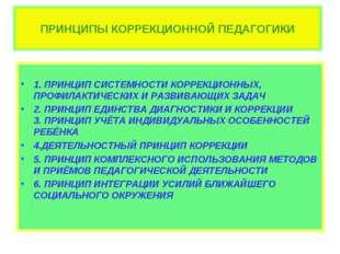 ПРИНЦИПЫ КОРРЕКЦИОННОЙ ПЕДАГОГИКИ 1. ПРИНЦИП СИСТЕМНОСТИ КОРРЕКЦИОННЫХ, ПРОФИ