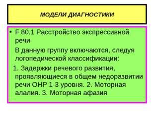 МОДЕЛИ ДИАГНОСТИКИ F 80.1 Расстройство экспрессивной речи В данную группу вкл