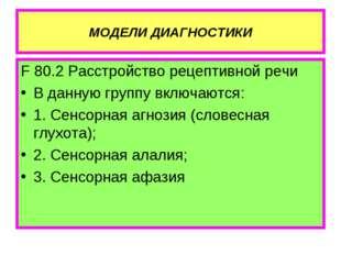 МОДЕЛИ ДИАГНОСТИКИ F 80.2 Расстройство рецептивной речи В данную группу включ