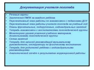 Документация учителя-логопеда Речевые карты Заключения ПМПК на каждого ребёнк