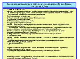 Основные направления в работе учителя-логопеда и педагога-психолога в ДОУ 1.