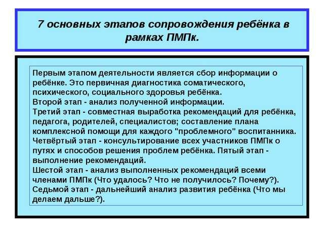 7 основных этапов сопровождения ребёнка в рамках ПМПк. Первым этапом деятель...