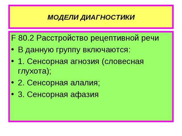 МОДЕЛИ ДИАГНОСТИКИ F 80.2 Расстройство рецептивной речи В данную группу включ...