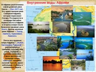 Внутренние воды Африки В Африке расположена самая длинная река Земли — Нил (6