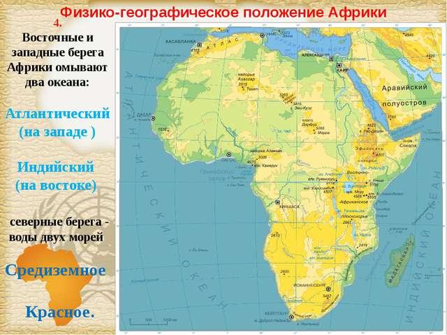 Физико-географическое положение Африки 4. Восточные и западные берега Африки...