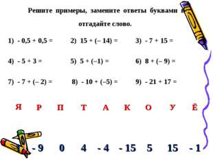 Решите примеры, замените ответы буквами и отгадайте слово. 1) - 0,5 + 0,5 = 2