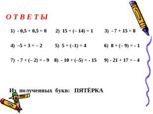 О Т В Е Т Ы 1) - 0,5 + 0,5 = 0 2) 15 + (– 14) = 1 3) - 7 + 15 = 8 4) –5 + 3 =