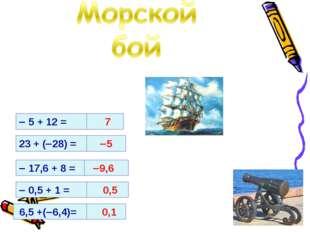  5 + 12 = 7 23 + (28) =  17,6 + 8 =  0,5 + 1 = 6,5 +(6,4)= 5 9,6 0,5 0,1