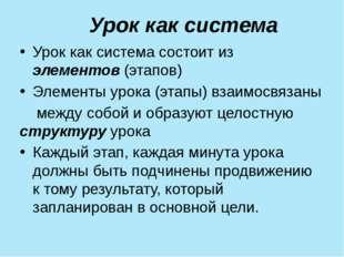 Урок как система Урок как система состоит из элементов (этапов) Элеме