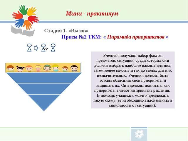 Мини - практикум Стадия 1. «Вызов» Прием №2 ТКМ: « Пирамида приоритетов » Уч...