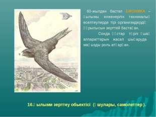 16.Ғылыми зерттеу обьектісі (ұшулары, самолеттер ). 60-жылдан бастап БИОНИКА
