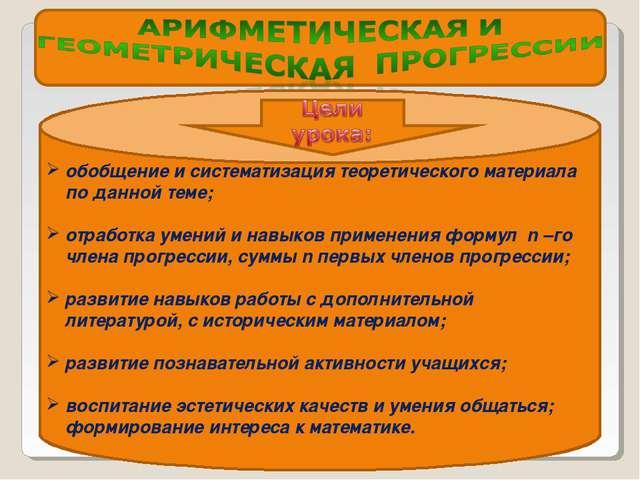 обобщение и систематизация теоретического материала по данной теме; отработка...