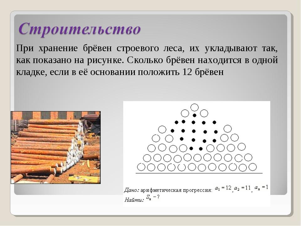При хранение брёвен строевого леса, их укладывают так, как показано на рисунк...