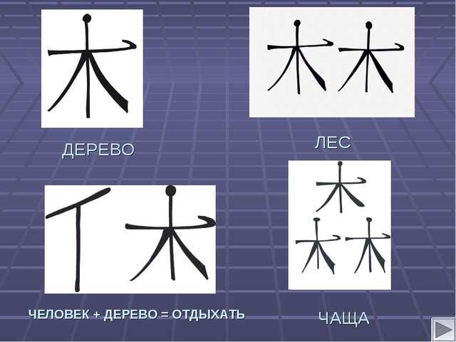 ЛЕС ДЕРЕВО ЧАЩА ЧЕЛОВЕК + ДЕРЕВО = ОТДЫХАТЬ
