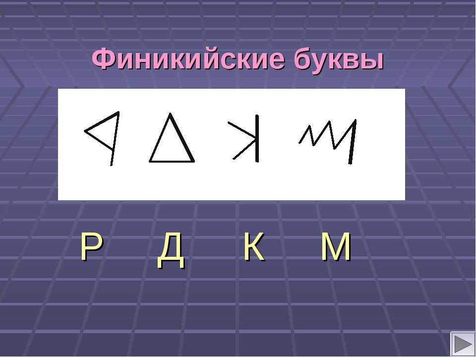 Финикийские буквы Р Д К М