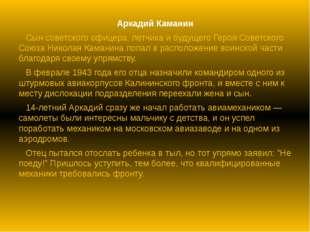Аркадий Каманин Сын советского офицера, летчика и будущего Героя Советского С