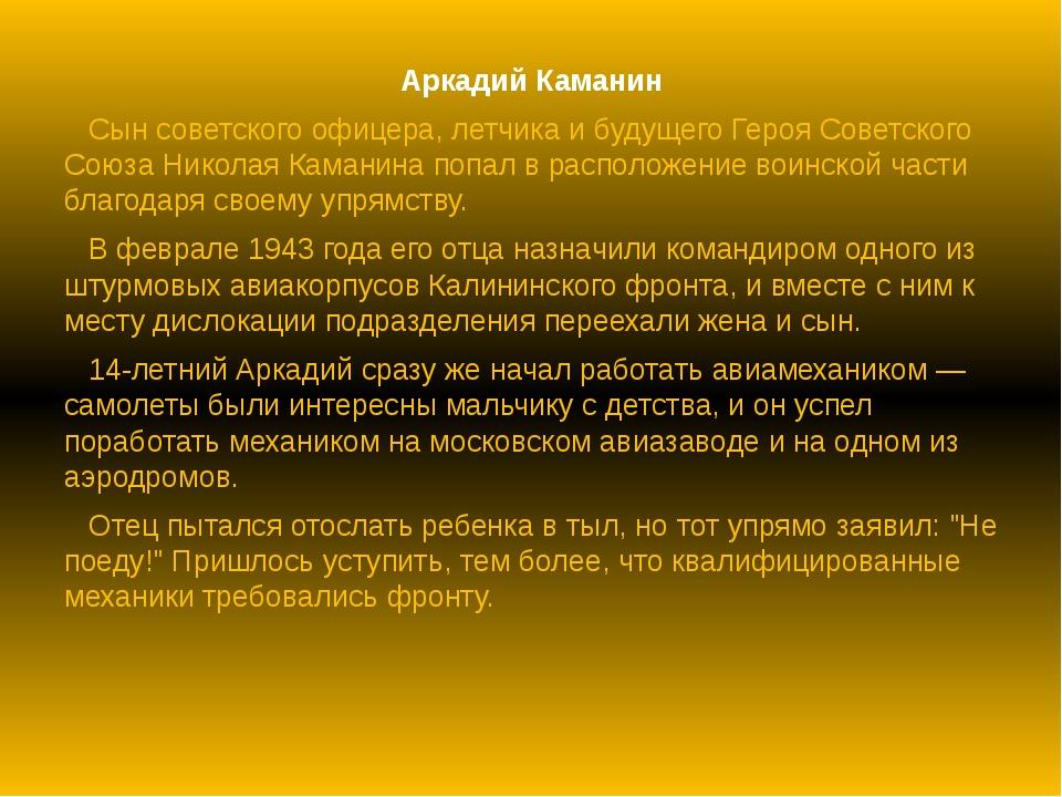 Аркадий Каманин Сын советского офицера, летчика и будущего Героя Советского С...