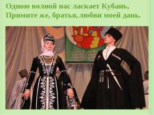 Одною волной нас ласкает Кубань, Примите же, братья, любви моей дань.