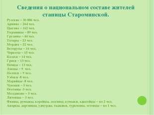 Сведения о национальном составе жителей станицы Староминской. Русские – 308