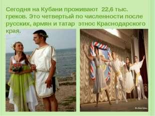 Сегодня на Кубани проживают 22,6 тыс. греков. Это четвертый по численности по