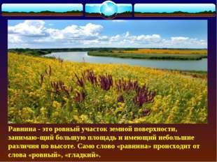 Равнина - это ровный участок земной поверхности, занимающий большую площадь