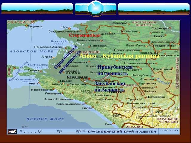 Азово – Кубанская равнина Приазовская низменность Прикубанская низменность За...