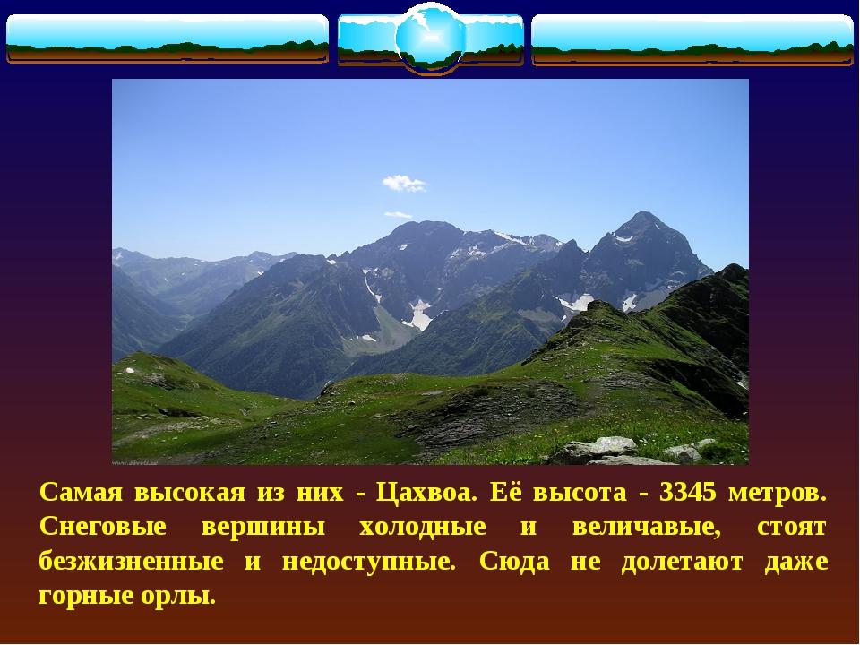 Самая высокая из них - Цахвоа. Её высота - 3345 метров. Снеговые вершины холо...