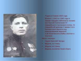 Родился 6 июня 1923 года. Воевал с 1942 по 1945 годы в звании гвардии лейтен