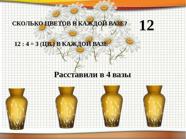 12 Расставили в 4 вазы СКОЛЬКО ЦВЕТОВ В КАЖДОЙ ВАЗЕ? 12 : 4 = 3 (ЦВ.) В КАЖДО...