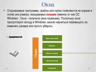 Окна Открываемые программы, файлы или папки появляются на экране в полях или