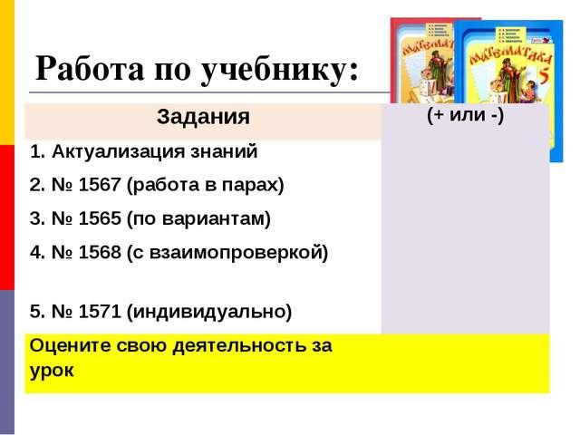Работа по учебнику: Задания(+ или -) 1. Актуализация знаний 2. № 1567 (раб...