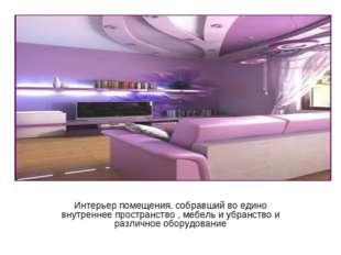 Интерьер помещения, собравший во едино внутреннее пространство , мебель и убр