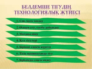 1. Сән, мата таңдау 2. Өлшем алу, сызба дайындау 3. Матаны пішу 4. Қол тігіст