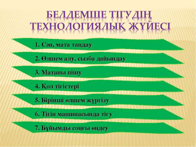 1. Сән, мата таңдау 2. Өлшем алу, сызба дайындау 3. Матаны пішу 4. Қол тігіст...