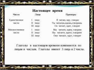Настоящее время Глаголы в настоящем времени изменяются по лицам и числам. Гл