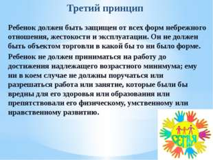 Третий принцип Ребенок должен быть защищен от всех форм небрежного отношения,